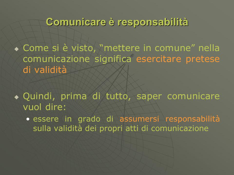Comunicare è responsabilità Come si è visto, mettere in comune nella comunicazione significa esercitare pretese di validità Quindi, prima di tutto, saper comunicare vuol dire: essere in grado di assumersi responsabilità sulla validità dei propri atti di comunicazione