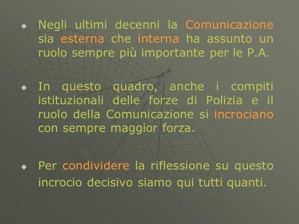 Negli ultimi decenni la Comunicazione sia esterna che interna ha assunto un ruolo sempre più importante per le P.A.