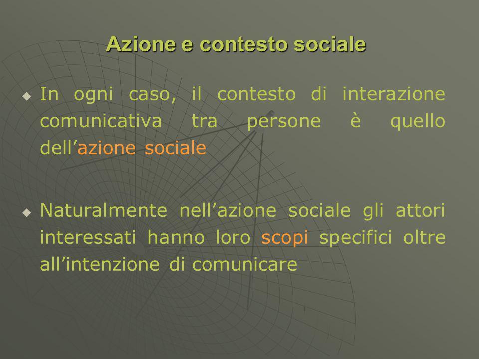 In ogni caso, il contesto di interazione comunicativa tra persone è quello dellazione sociale Naturalmente nellazione sociale gli attori interessati hanno loro scopi specifici oltre allintenzione di comunicare Azione e contesto sociale