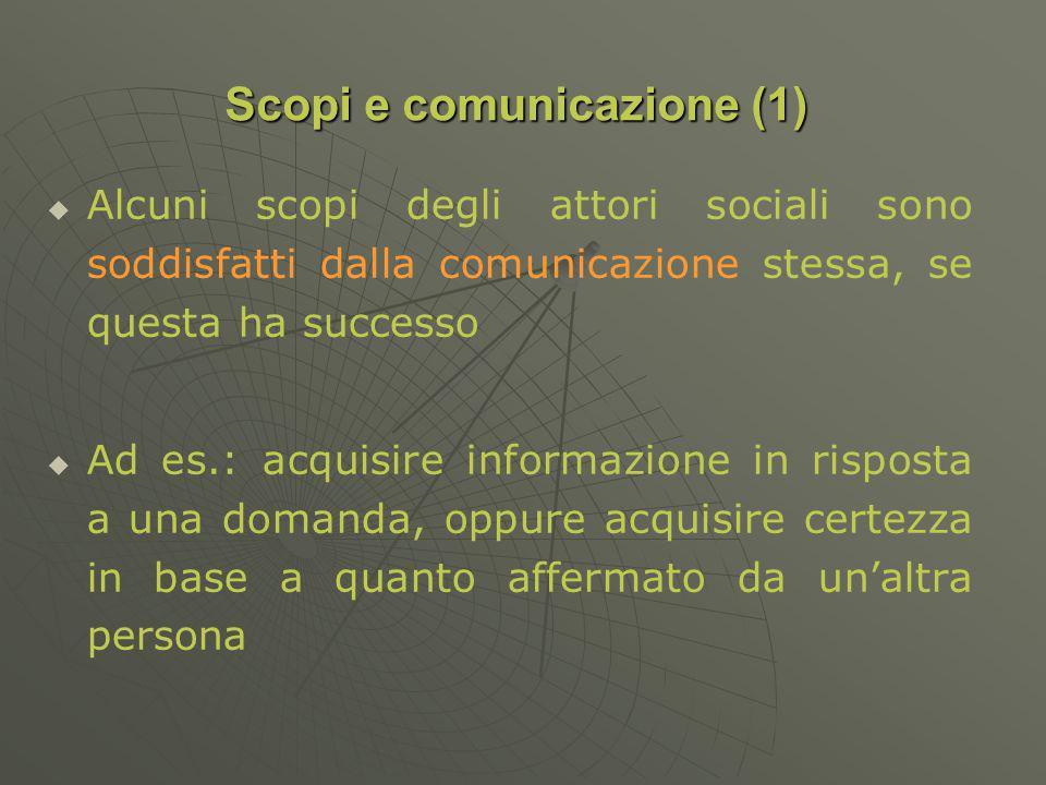 Alcuni scopi degli attori sociali sono soddisfatti dalla comunicazione stessa, se questa ha successo Ad es.: acquisire informazione in risposta a una domanda, oppure acquisire certezza in base a quanto affermato da unaltra persona Scopi e comunicazione (1)