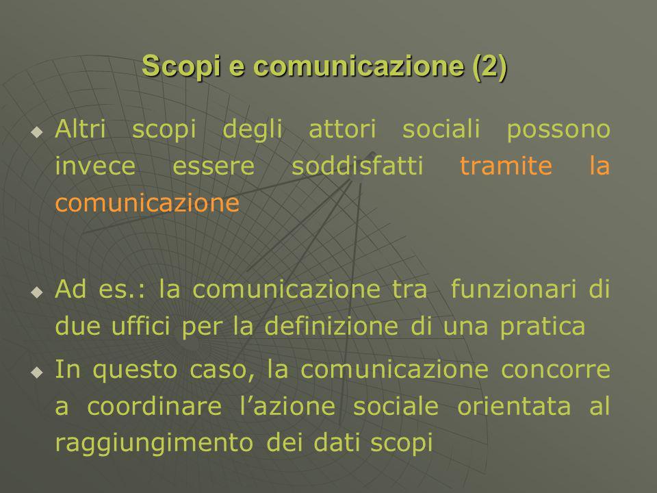 Altri scopi degli attori sociali possono invece essere soddisfatti tramite la comunicazione Ad es.: la comunicazione tra funzionari di due uffici per la definizione di una pratica In questo caso, la comunicazione concorre a coordinare lazione sociale orientata al raggiungimento dei dati scopi Scopi e comunicazione (2)