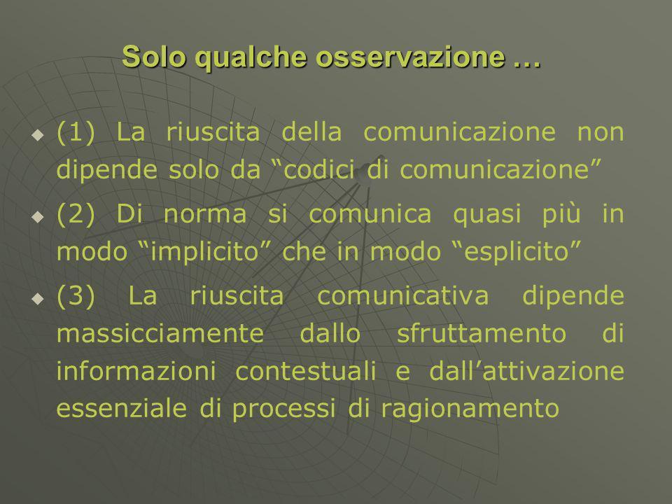 (1) La riuscita della comunicazione non dipende solo da codici di comunicazione (2) Di norma si comunica quasi più in modo implicito che in modo esplicito (3) La riuscita comunicativa dipende massicciamente dallo sfruttamento di informazioni contestuali e dallattivazione essenziale di processi di ragionamento Solo qualche osservazione …