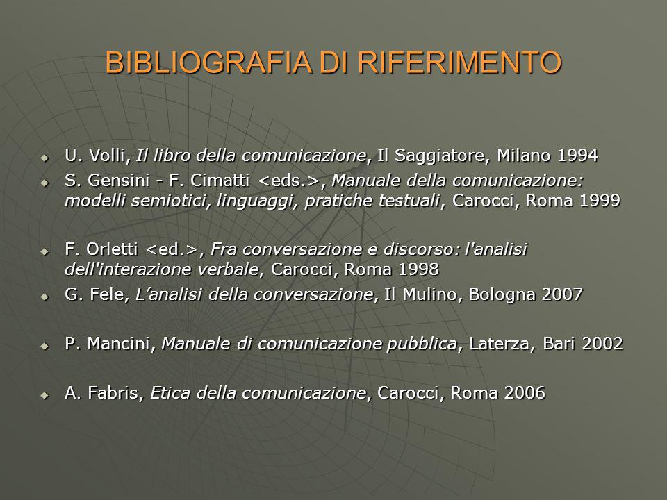 BIBLIOGRAFIA DI RIFERIMENTO U. Volli, Il libro della comunicazione, Il Saggiatore, Milano 1994 U.