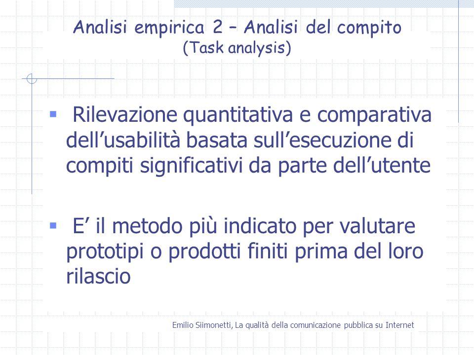 Emilio Siimonetti, La qualità della comunicazione pubblica su Internet Analisi empirica 2 – Analisi del compito (Task analysis) Rilevazione quantitati