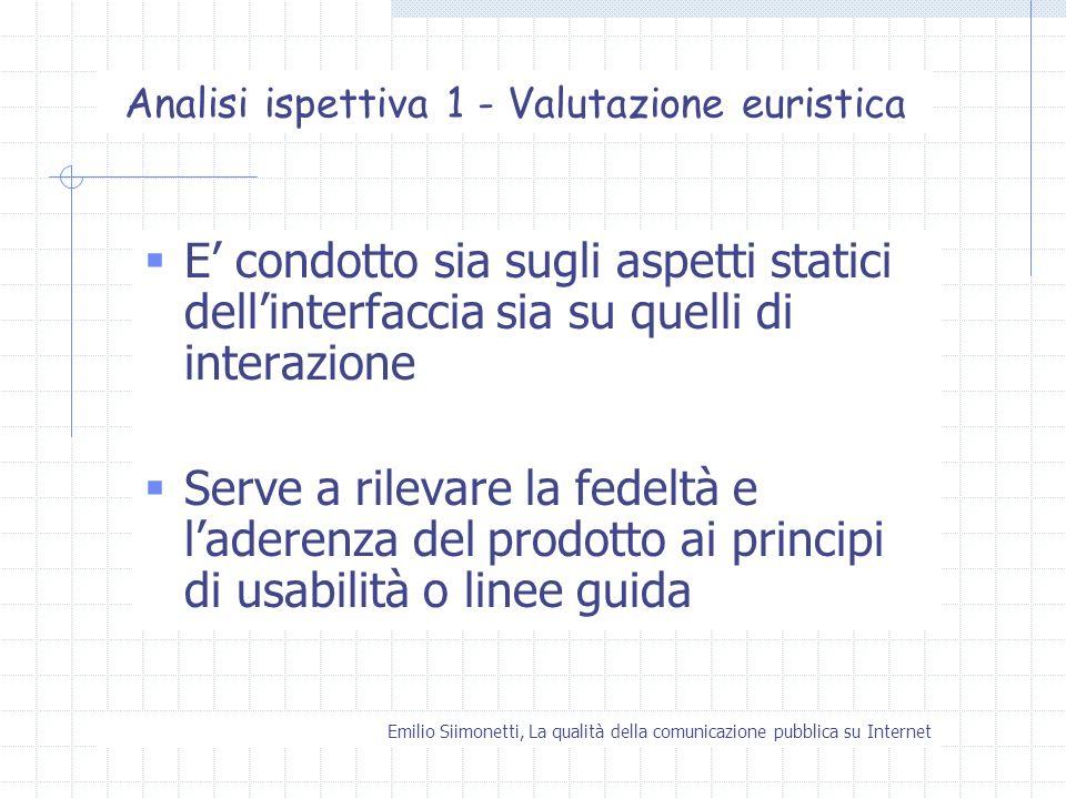 Emilio Siimonetti, La qualità della comunicazione pubblica su Internet Analisi ispettiva 1 - Valutazione euristica E condotto sia sugli aspetti static