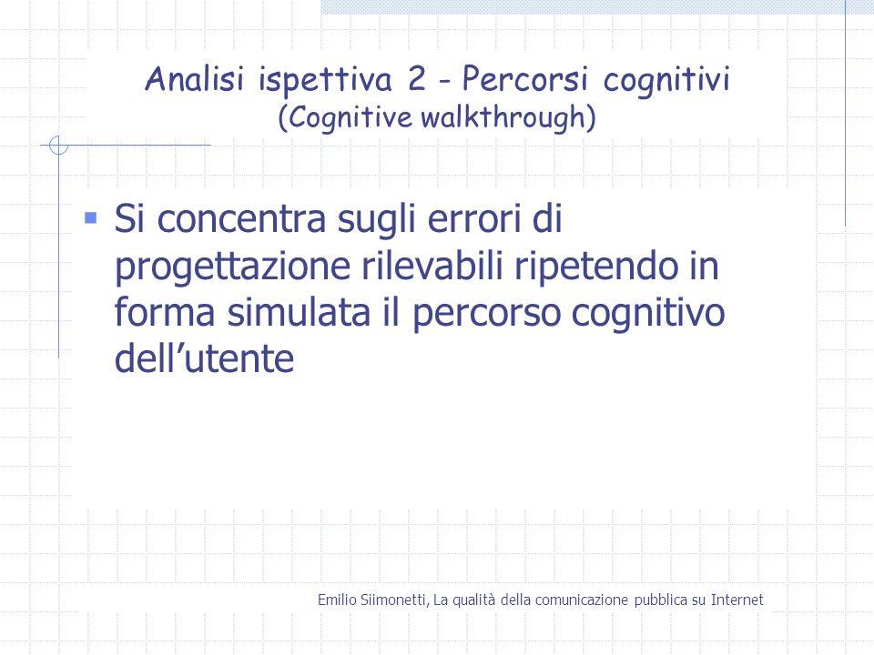 Emilio Siimonetti, La qualità della comunicazione pubblica su Internet Analisi ispettiva 2 - Percorsi cognitivi (Cognitive walkthrough) Si concentra s