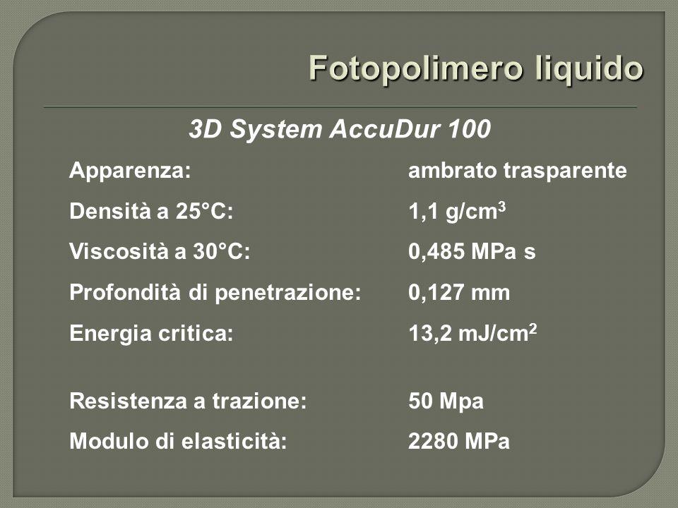 Stratasys FDM 3000 Materiali impiegabili: ABS, elastomeri, cera Spessore layer: da 0,18 a 0,36 mm Dimensioni massime oggetto:254 x 254 x 406 mm Precisione ottenibile: ± 0,12 mm