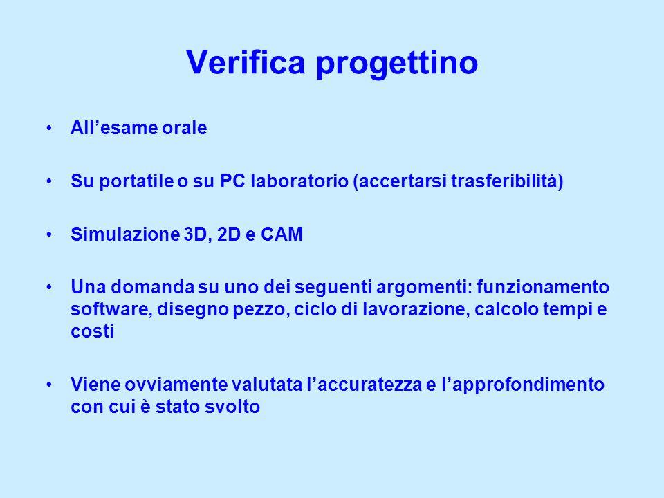 Allesame orale Su portatile o su PC laboratorio (accertarsi trasferibilità) Simulazione 3D, 2D e CAM Una domanda su uno dei seguenti argomenti: funzio