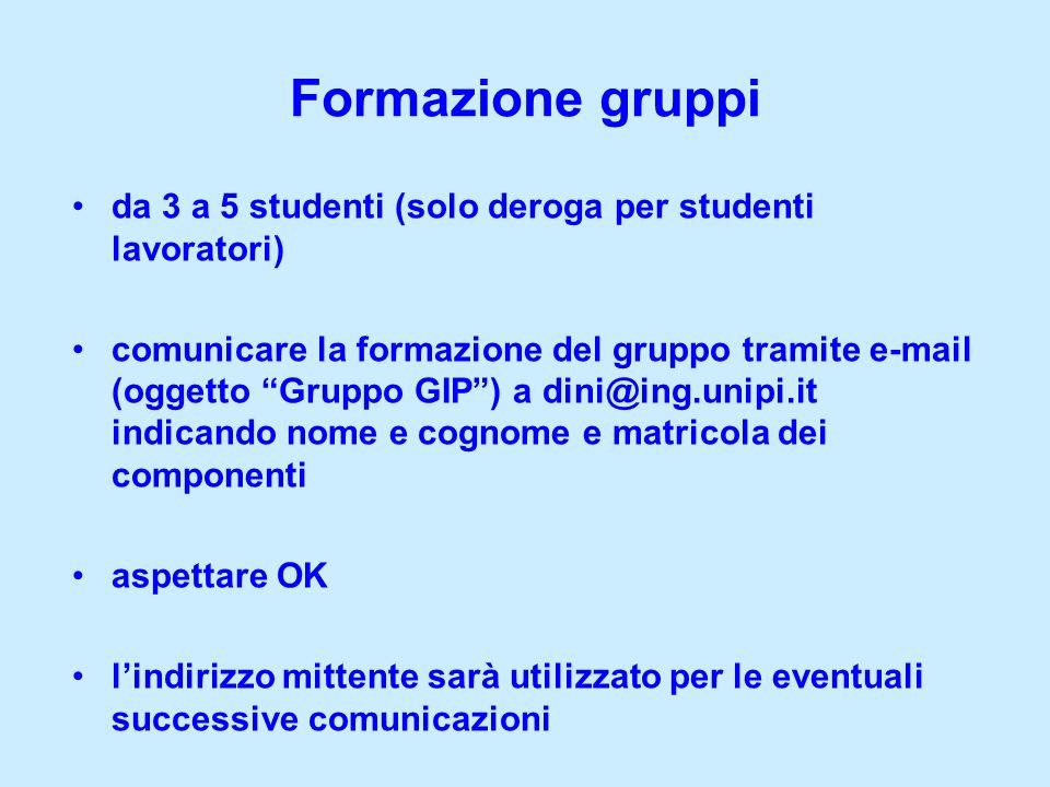 Formazione gruppi da 3 a 5 studenti (solo deroga per studenti lavoratori) comunicare la formazione del gruppo tramite e-mail (oggetto Gruppo GIP) a di
