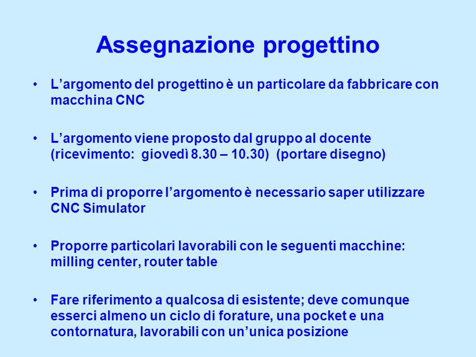 Assegnazione progettino Largomento del progettino è un particolare da fabbricare con macchina CNC Largomento viene proposto dal gruppo al docente (ric