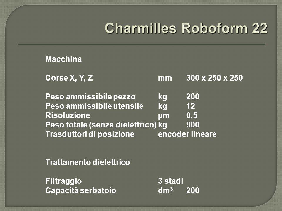 Macchina Corse X, Y, Z mm 300 x 250 x 250 Peso ammissibile pezzo kg200 Peso ammissibile utensile kg12 Risoluzione µm 0.5 Peso totale (senza dielettrico) kg900 Trasduttori di posizione encoder lineare Trattamento dielettrico Filtraggio 3 stadi Capacità serbatoio dm 3 200