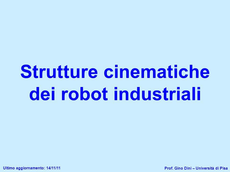 Strutture cinematiche dei robot industriali Prof. Gino Dini – Università di Pisa Ultimo aggiornamento: 14/11/11