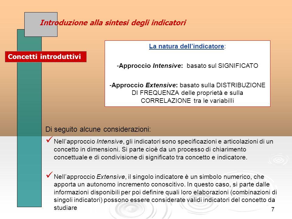 7 Di seguito alcune considerazioni: Nellapproccio Intensive, gli indicatori sono specificazioni e articolazioni di un concetto in dimensioni.
