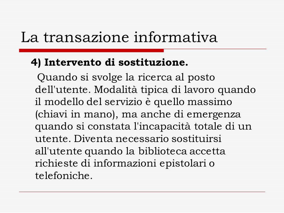 La transazione informativa 4) Intervento di sostituzione. Quando si svolge la ricerca al posto dell'utente. Modalità tipica di lavoro quando il modell