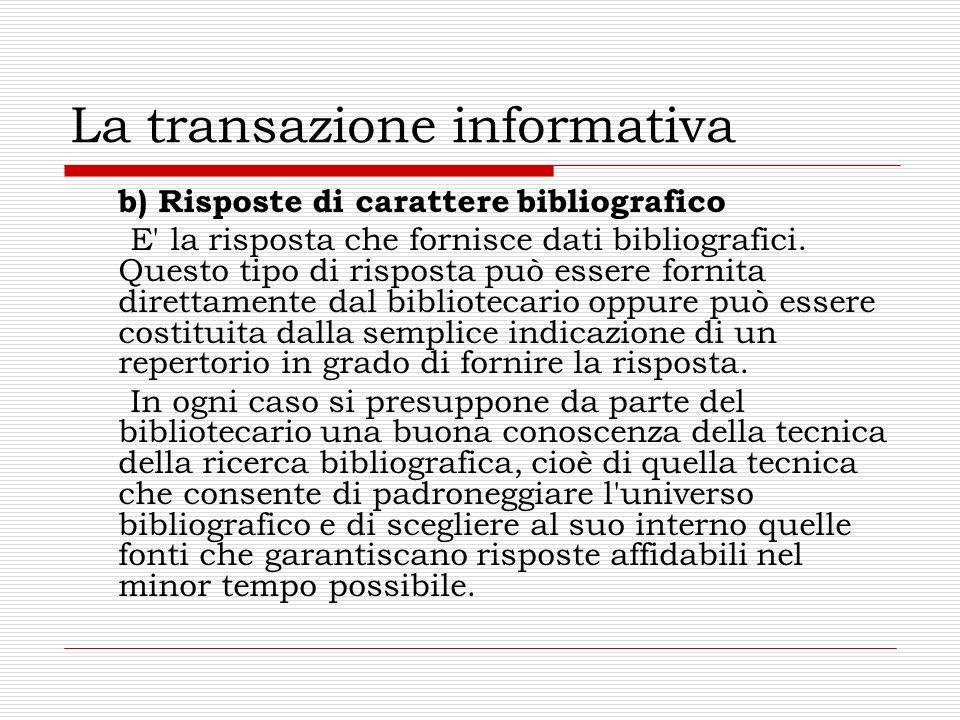 La transazione informativa b) Risposte di carattere bibliografico E' la risposta che fornisce dati bibliografici. Questo tipo di risposta può essere f