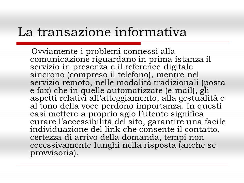 La transazione informativa Ovviamente i problemi connessi alla comunicazione riguardano in prima istanza il servizio in presenza e il reference digita