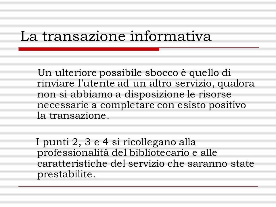 La transazione informativa Un ulteriore possibile sbocco è quello di rinviare lutente ad un altro servizio, qualora non si abbiamo a disposizione le risorse necessarie a completare con esisto positivo la transazione.