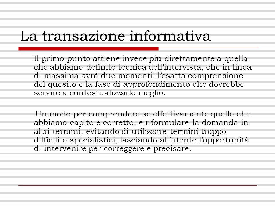 La transazione informativa Il primo punto attiene invece più direttamente a quella che abbiamo definito tecnica dellintervista, che in linea di massim