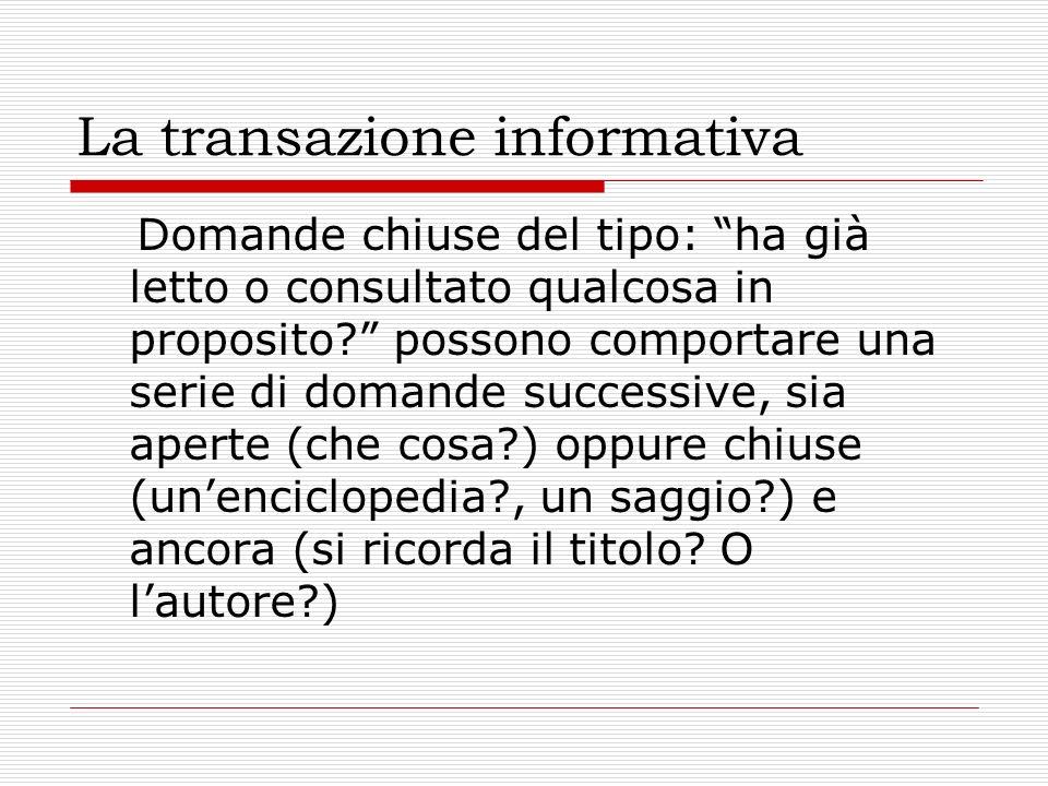 La transazione informativa Domande chiuse del tipo: ha già letto o consultato qualcosa in proposito? possono comportare una serie di domande successiv