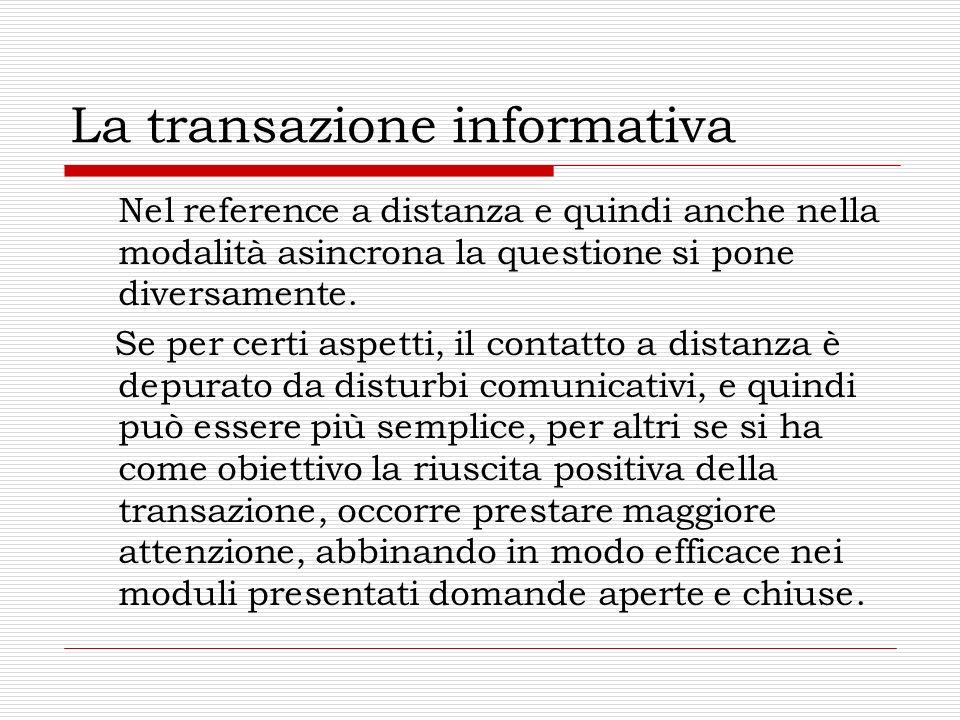 La transazione informativa Nel reference a distanza e quindi anche nella modalità asincrona la questione si pone diversamente.
