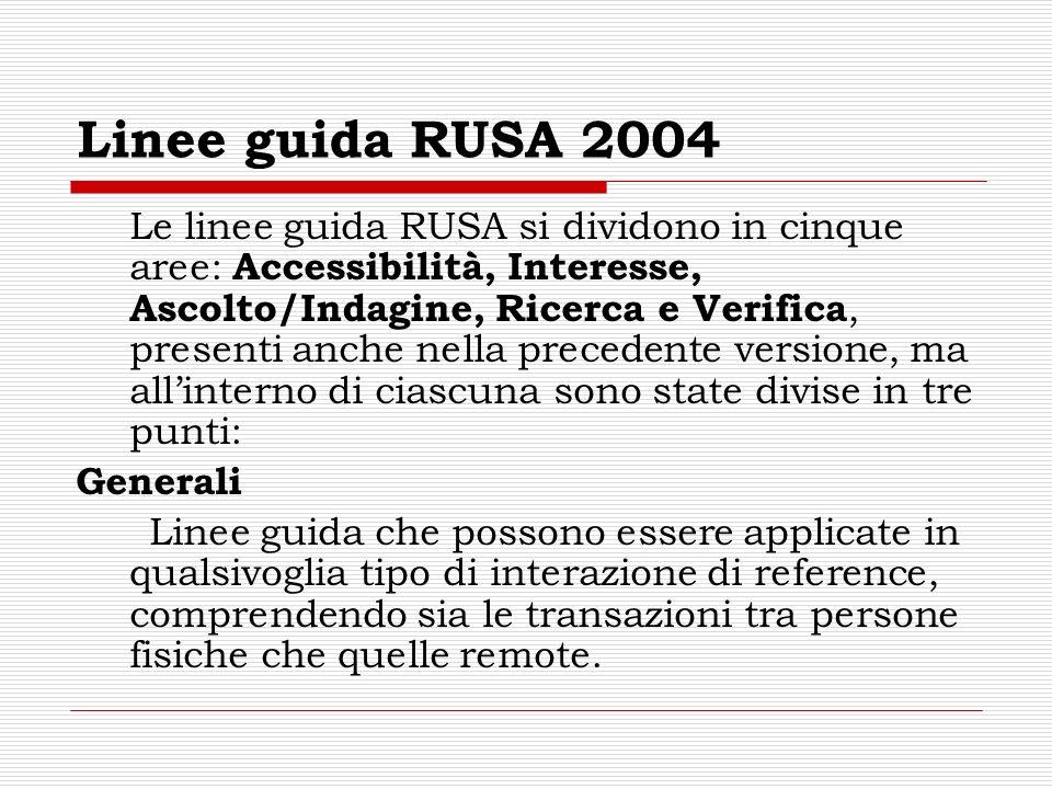 Linee guida RUSA 2004 Le linee guida RUSA si dividono in cinque aree: Accessibilità, Interesse, Ascolto/Indagine, Ricerca e Verifica, presenti anche n