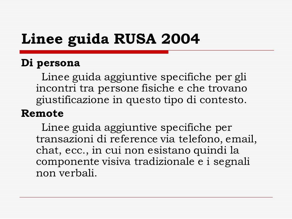 Linee guida RUSA 2004 Di persona Linee guida aggiuntive specifiche per gli incontri tra persone fisiche e che trovano giustificazione in questo tipo di contesto.
