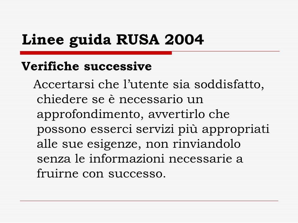 Linee guida RUSA 2004 Verifiche successive Accertarsi che lutente sia soddisfatto, chiedere se è necessario un approfondimento, avvertirlo che possono