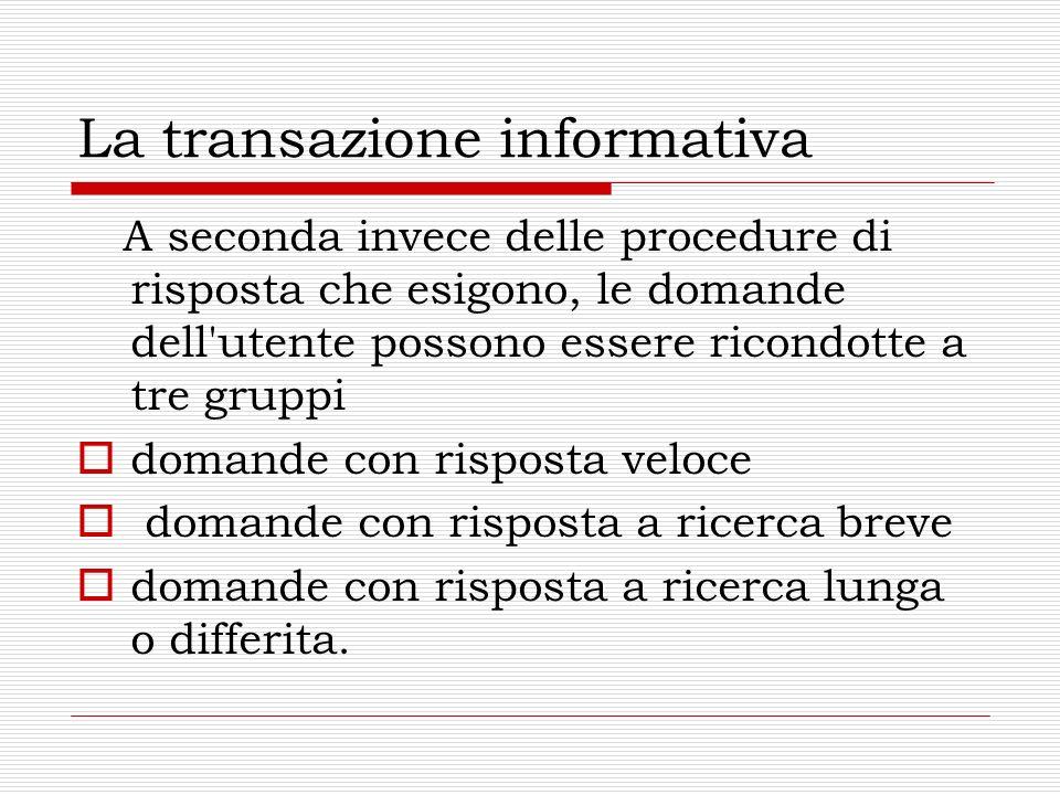 La transazione informativa A seconda invece delle procedure di risposta che esigono, le domande dell'utente possono essere ricondotte a tre gruppi dom