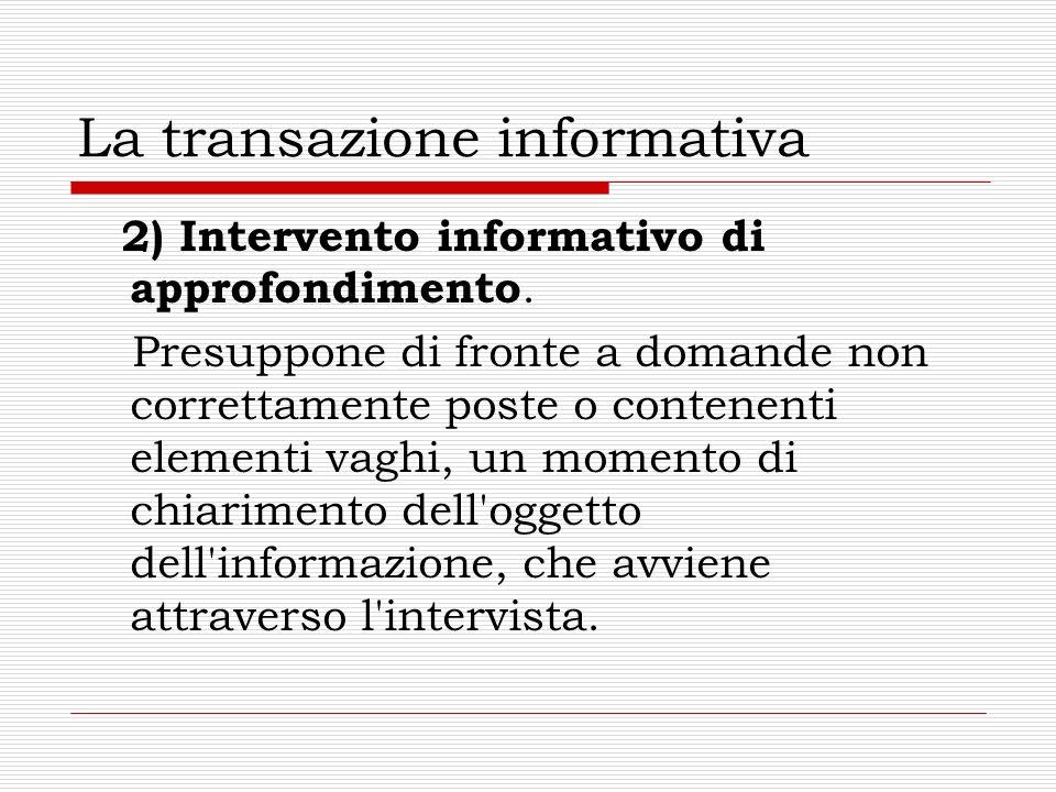 La transazione informativa 2) Intervento informativo di approfondimento. Presuppone di fronte a domande non correttamente poste o contenenti elementi