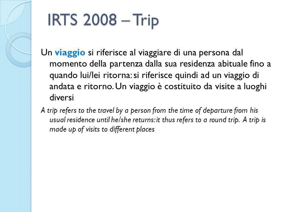 IRTS 2008 – Trip Un viaggio si riferisce al viaggiare di una persona dal momento della partenza dalla sua residenza abituale fino a quando lui/lei ritorna: si riferisce quindi ad un viaggio di andata e ritorno.