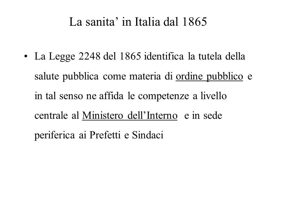 La sanita in Italia dal 1865 La Legge 2248 del 1865 identifica la tutela della salute pubblica come materia di ordine pubblico e in tal senso ne affid
