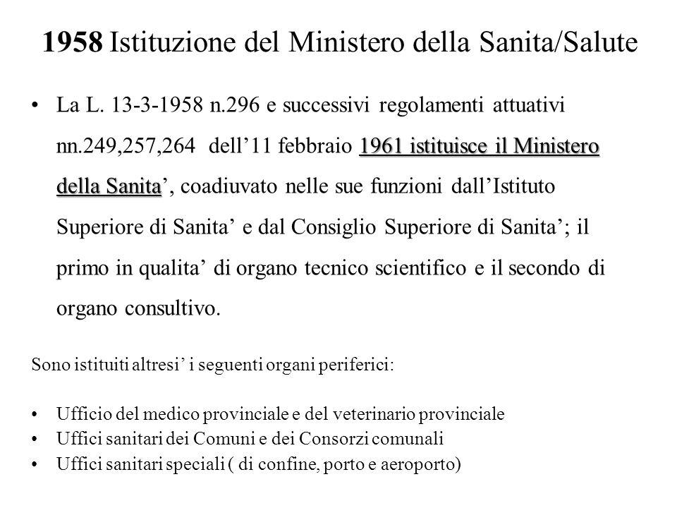 1958 Istituzione del Ministero della Sanita/Salute 1961 istituisce il Ministero della SanitaLa L. 13-3-1958 n.296 e successivi regolamenti attuativi n