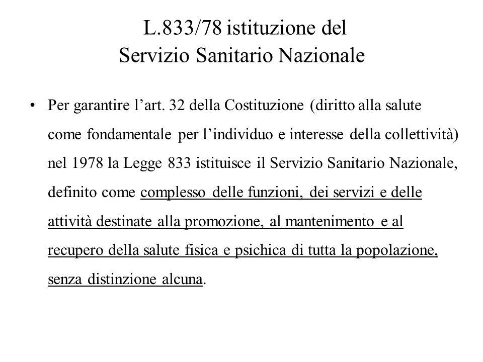 L.833/78 istituzione del Servizio Sanitario Nazionale Per garantire lart. 32 della Costituzione (diritto alla salute come fondamentale per lindividuo