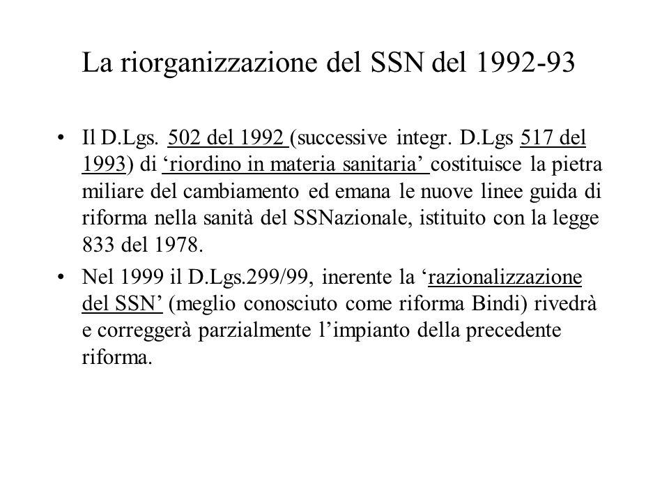 La riorganizzazione del SSN del 1992-93 Il D.Lgs. 502 del 1992 (successive integr. D.Lgs 517 del 1993) di riordino in materia sanitaria costituisce la