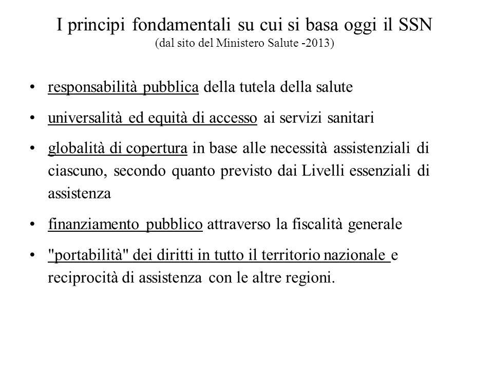 I principi fondamentali su cui si basa oggi il SSN (dal sito del Ministero Salute -2013) responsabilità pubblica della tutela della salute universalit