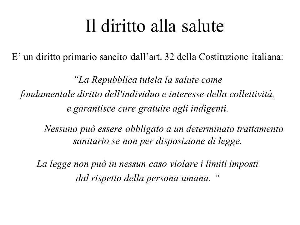 Il diritto alla salute E un diritto primario sancito dallart. 32 della Costituzione italiana: La Repubblica tutela la salute come fondamentale diritto