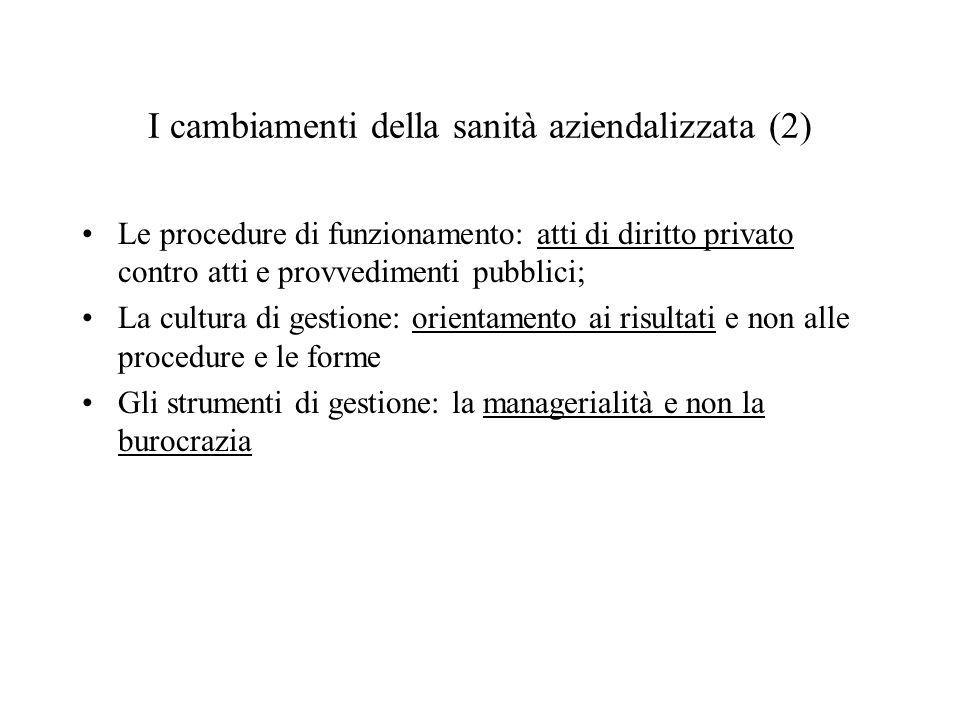 Le procedure di funzionamento: atti di diritto privato contro atti e provvedimenti pubblici; La cultura di gestione: orientamento ai risultati e non a