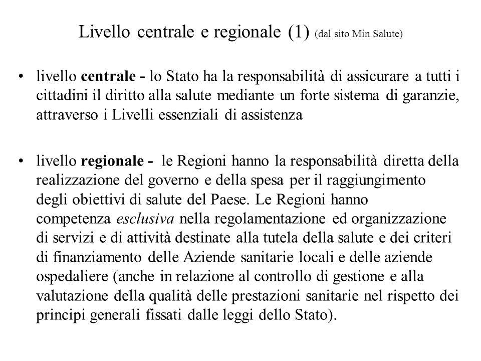 livello centrale - lo Stato ha la responsabilità di assicurare a tutti i cittadini il diritto alla salute mediante un forte sistema di garanzie, attra