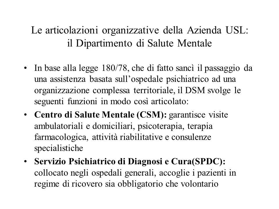 In base alla legge 180/78, che di fatto sancì il passaggio da una assistenza basata sullospedale psichiatrico ad una organizzazione complessa territor