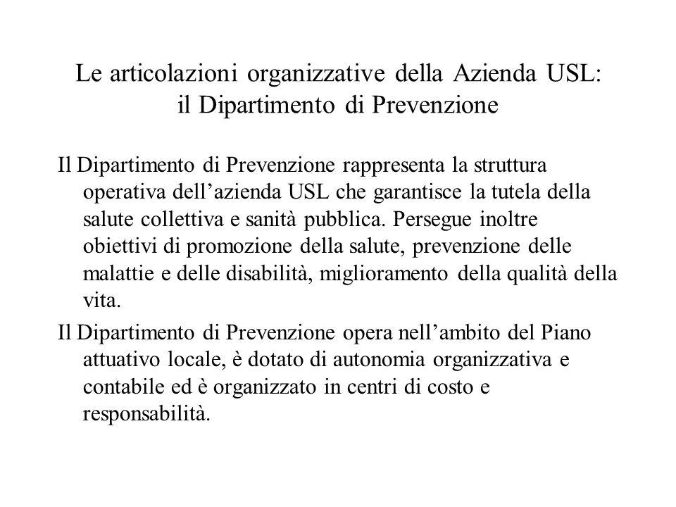 Il Dipartimento di Prevenzione rappresenta la struttura operativa dellazienda USL che garantisce la tutela della salute collettiva e sanità pubblica.