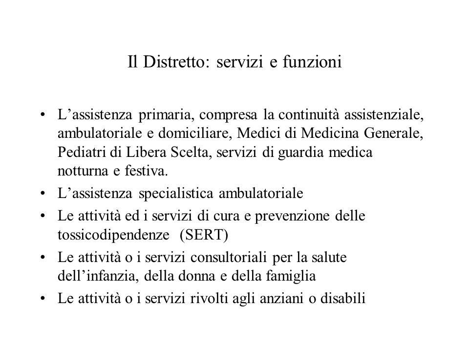 Lassistenza primaria, compresa la continuità assistenziale, ambulatoriale e domiciliare, Medici di Medicina Generale, Pediatri di Libera Scelta, servi