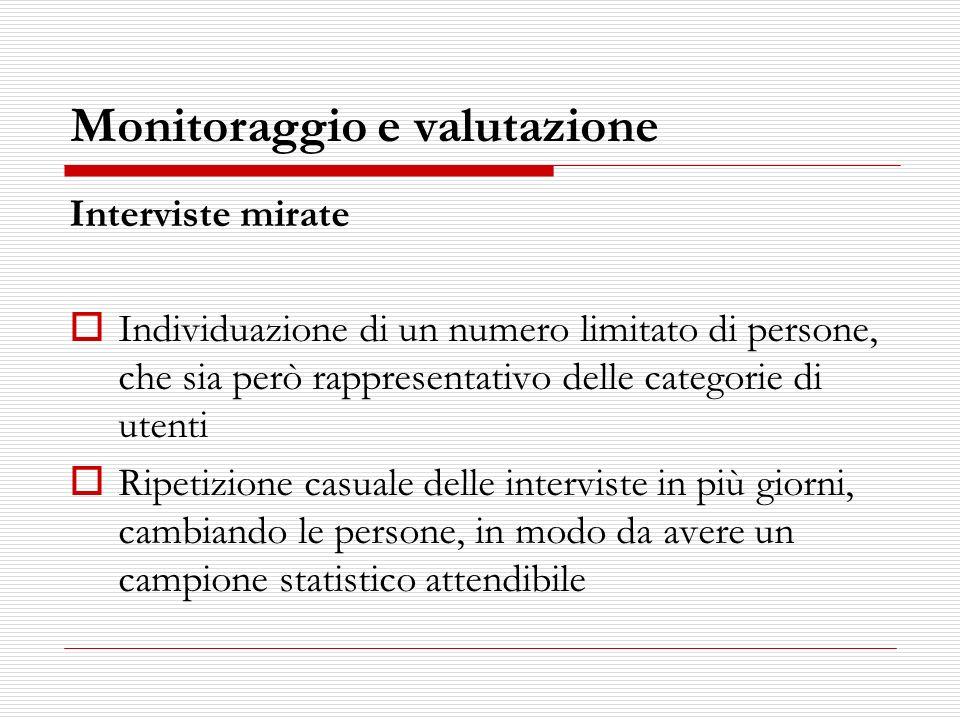 Monitoraggio e valutazione Interviste mirate Individuazione di un numero limitato di persone, che sia però rappresentativo delle categorie di utenti R