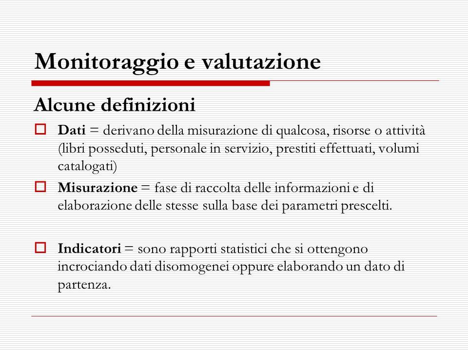Monitoraggio e valutazione Alcune definizioni Dati = derivano della misurazione di qualcosa, risorse o attività (libri posseduti, personale in servizi