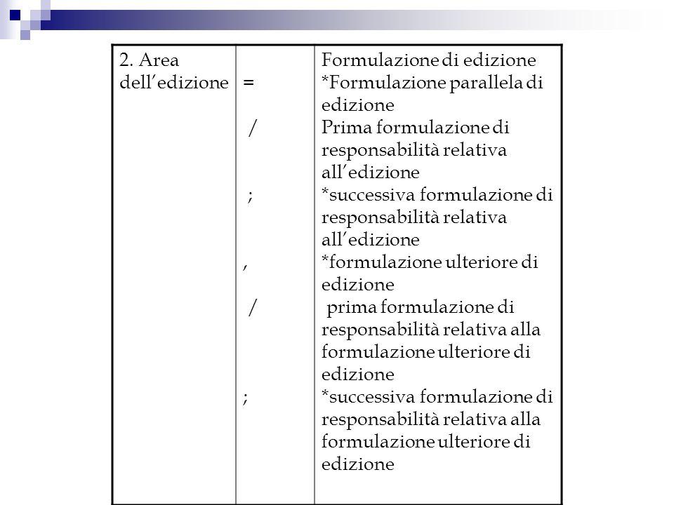 2. Area delledizione= / ;, / ; Formulazione di edizione *Formulazione parallela di edizione Prima formulazione di responsabilità relativa alledizione