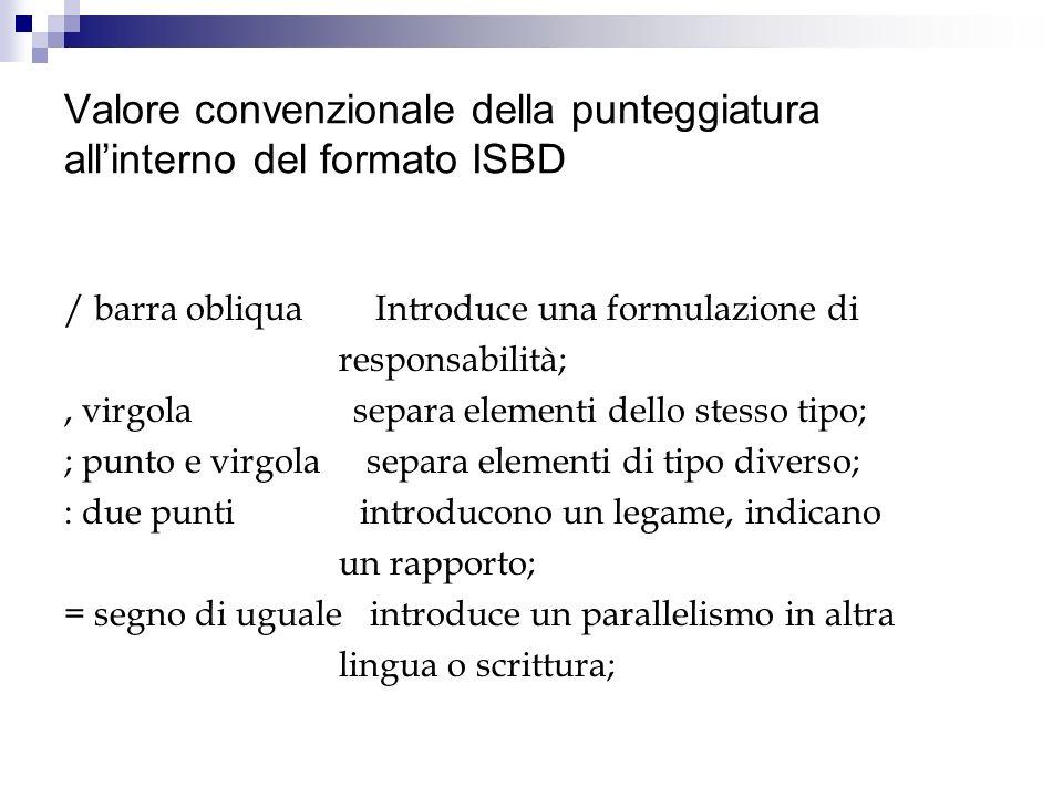 Valore convenzionale della punteggiatura allinterno del formato ISBD / barra obliqua Introduce una formulazione di responsabilità;, virgola separa ele