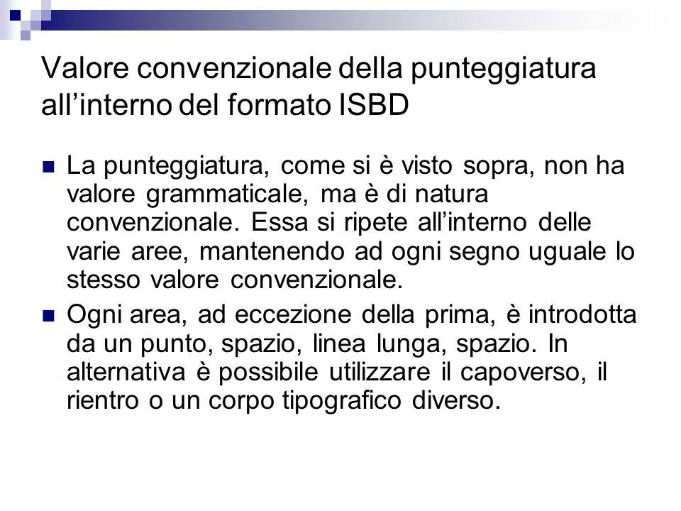 Valore convenzionale della punteggiatura allinterno del formato ISBD La punteggiatura, come si è visto sopra, non ha valore grammaticale, ma è di natu