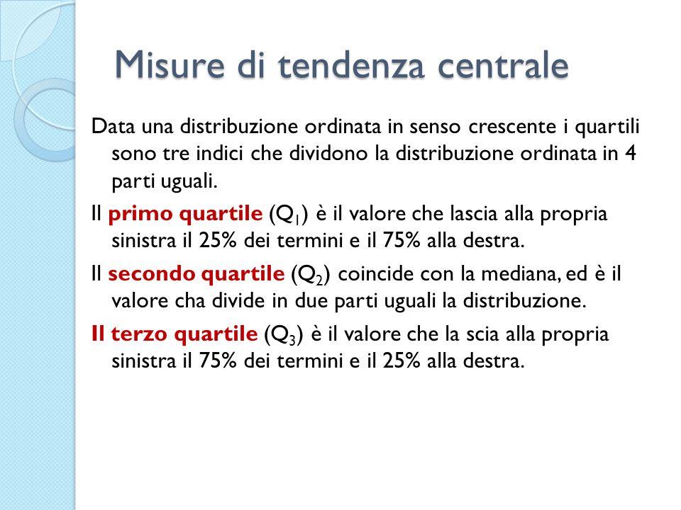 Misure di tendenza centrale Data una distribuzione ordinata in senso crescente i quartili sono tre indici che dividono la distribuzione ordinata in 4