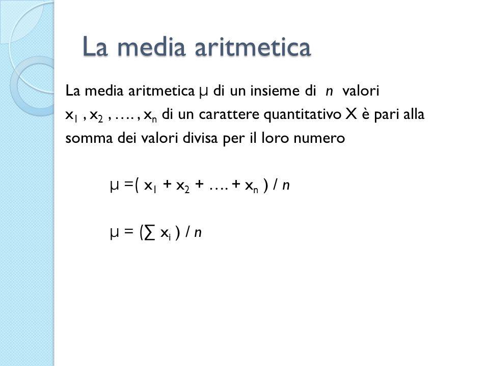 La media aritmetica La media aritmetica μ di un insieme di n valori x 1, x 2, …., x n di un carattere quantitativo X è pari alla somma dei valori divi