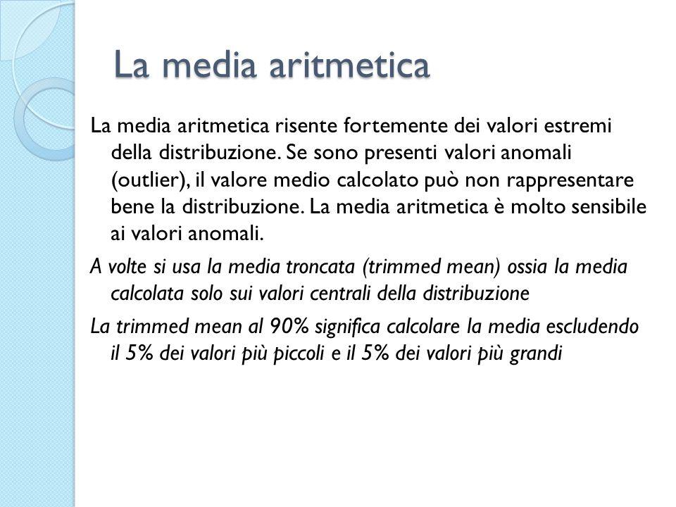 La media aritmetica La media aritmetica risente fortemente dei valori estremi della distribuzione. Se sono presenti valori anomali (outlier), il valor