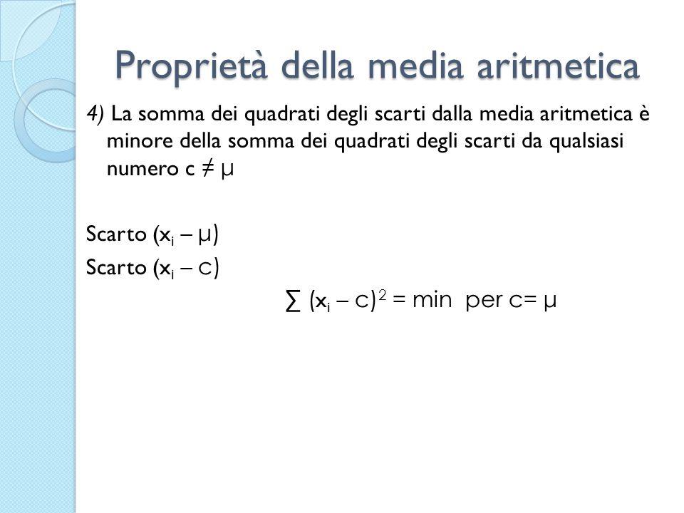 Proprietà della media aritmetica 4) La somma dei quadrati degli scarti dalla media aritmetica è minore della somma dei quadrati degli scarti da qualsi